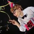 Cute party boy with a gift — Stock Photo #5821603