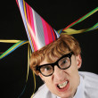 Excited nerd at a party — Stock Photo