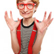Excited cute nerd — Stock Photo #5821616