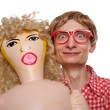 Guy with a blow-up doll — Stock Photo