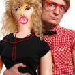 Guy with a blow-up doll — Stock Photo #5821636