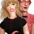 Guy with a blow-up doll — Stock Photo #5821637