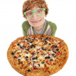 Funny guy with pizza - Stock Photo