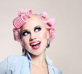Cheerful housewife — Stock Photo