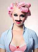 Dívka s knírkem — Stock fotografie