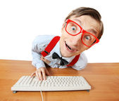 Funny guy at the computer — Foto de Stock