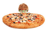 Funny guy with pizza — Stock Photo