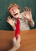 Pracownik biurowy przestraszony — Zdjęcie stockowe
