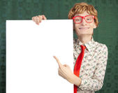 Funny guy with blank card — Stock Photo