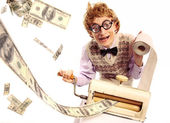 Accountant with money making machine — Stok fotoğraf