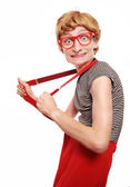Excited cute nerd — Stock Photo