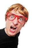 Nerd com raiva — Foto Stock