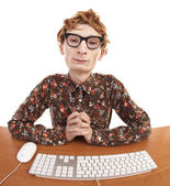 Funny guy at the computer — Стоковое фото