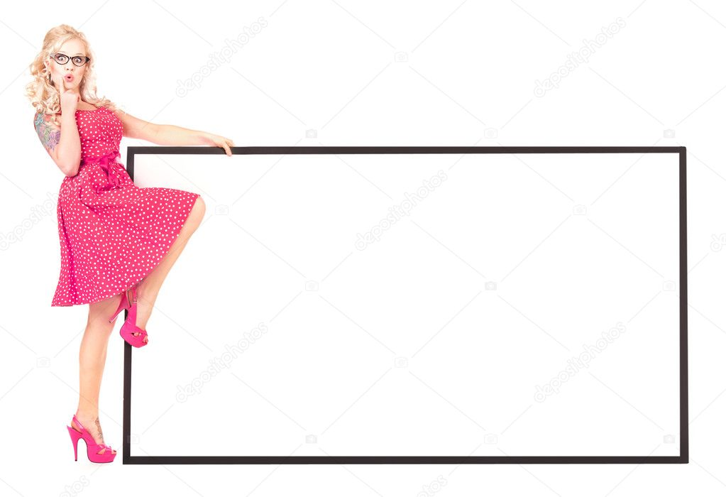 Sexy pinup girl with a blank — Foto de Stock   #5821354