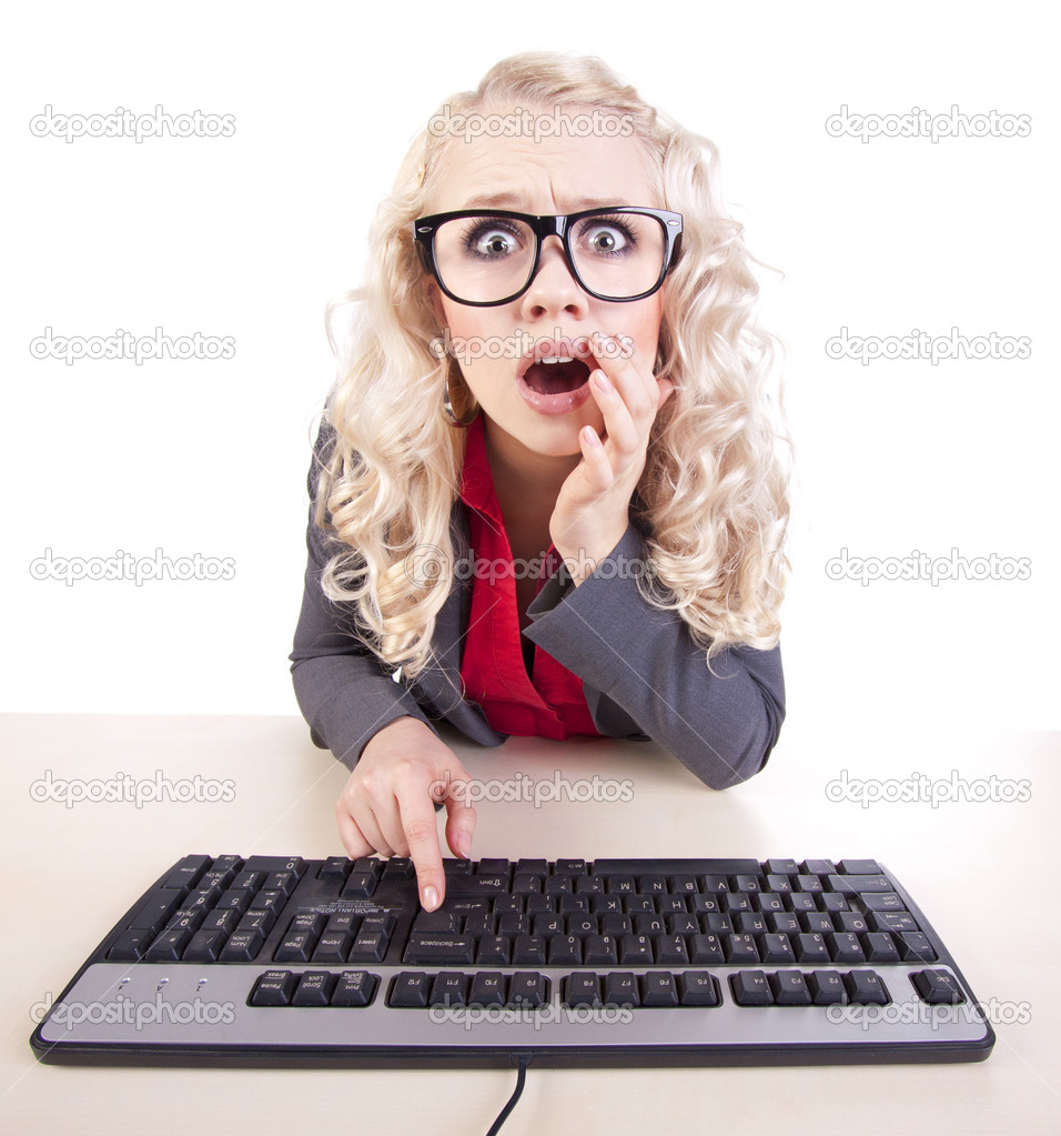 Shocked office worker at a computer — Foto Stock #5821463