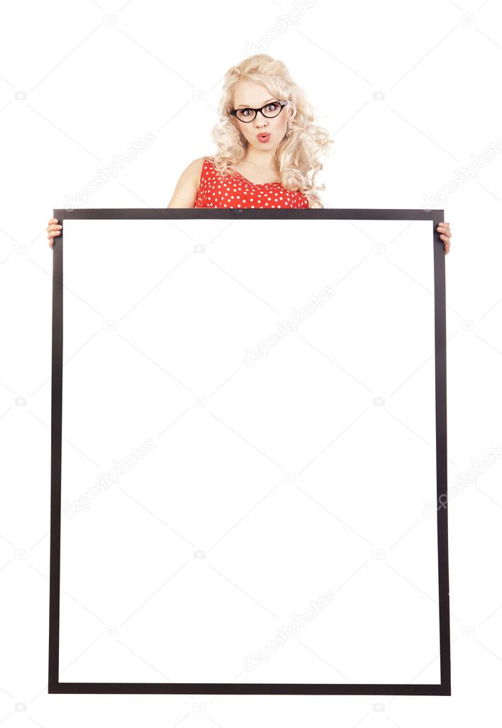 Sexy pinup girl with a blank — Foto Stock #5821467
