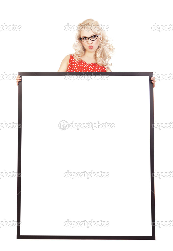 Sexy pinup girl with a blank — Stock fotografie #5821467