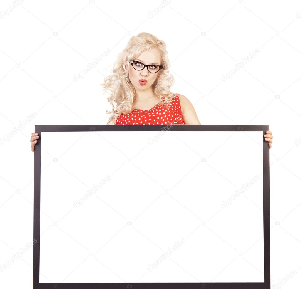 Sexy pinup girl with a blank — Stock Photo #5821468
