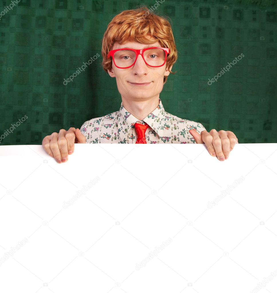 Funny guy with blank card — Foto Stock #5821474