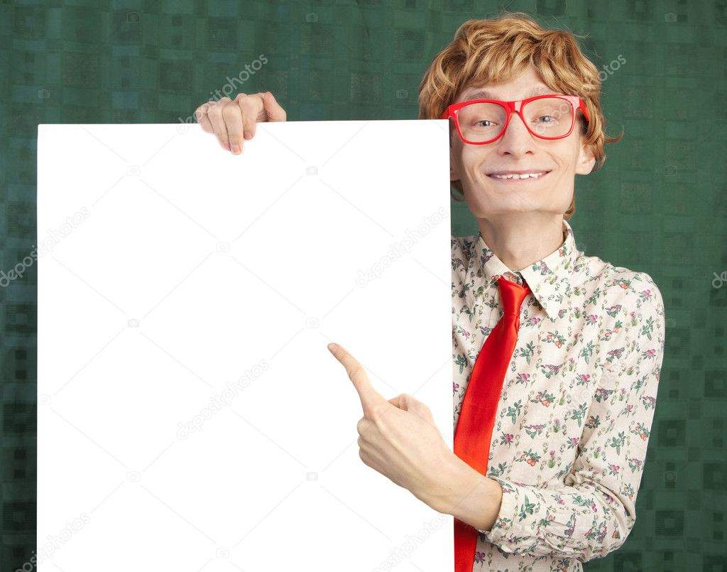 Funny guy with blank card — Stock Photo #5821497