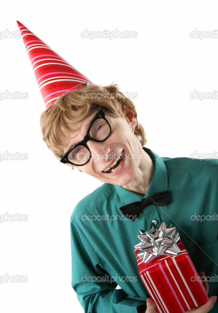 Cute party boy with a gift  Stock Photo #5821607