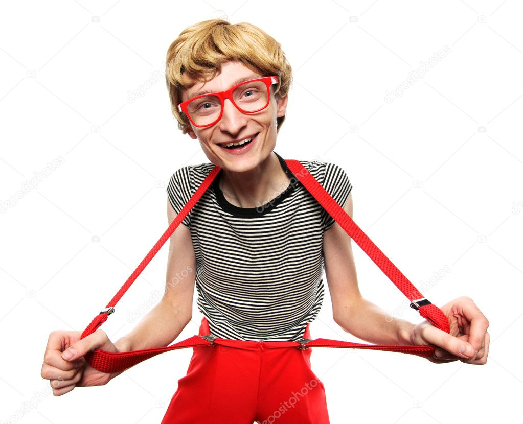 Excited cute nerd  Stock Photo #5821612