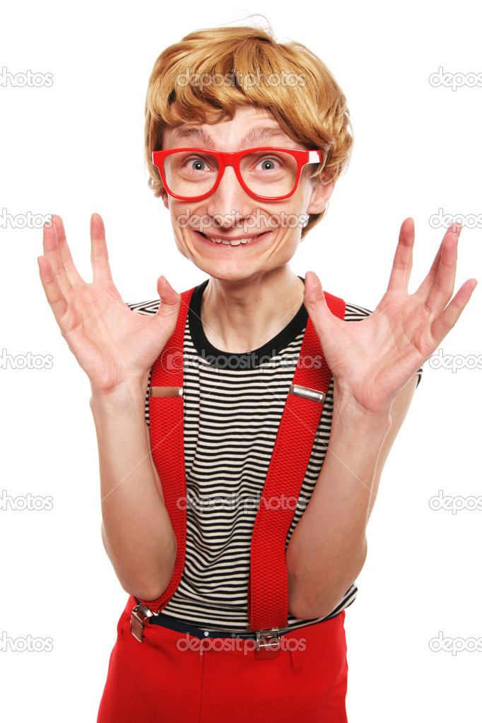 Excited cute nerd  Stock Photo #5821616