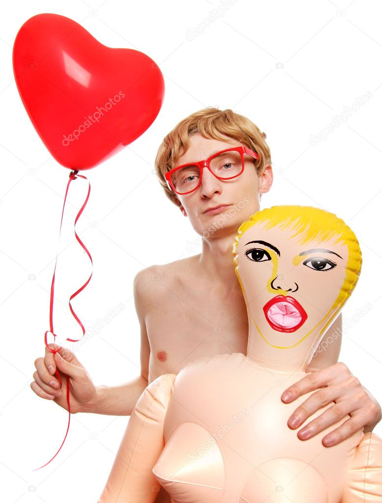 Guy with a blow-up doll — Stock Photo #5821633