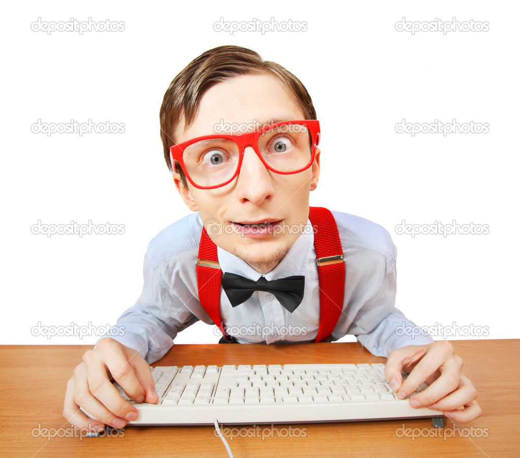Funny guy at the computer  Stock Photo #5821646