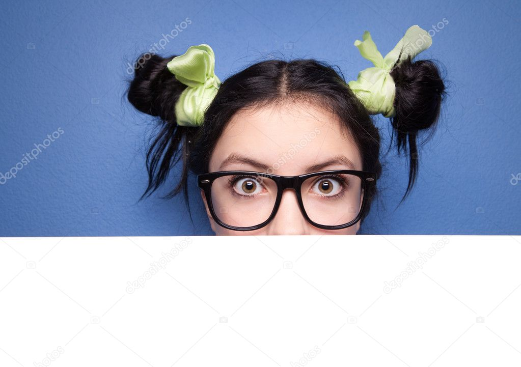 Girl with presentation board  Stock Photo #5821697