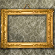 Gold frame, aged wallpaper — Photo