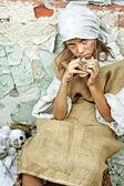 Child wearing vintage — Stock Photo