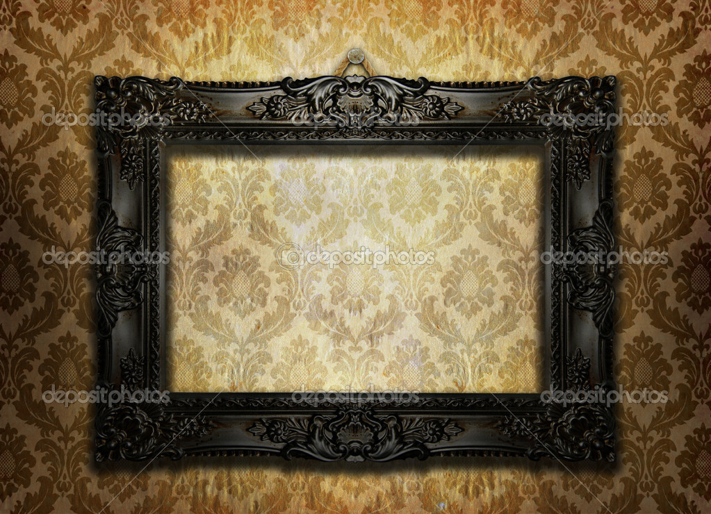 beautiful ornate frame on a vintage wallpaper photo by ninamalyna