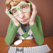Funny guy at the computer — Stock Photo