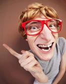 Zabawny facet nerdy — Zdjęcie stockowe