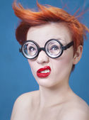 Funny nerdy girl — Stock Photo