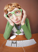 Funny guy at the computer — Foto Stock