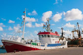 Shrimp fish trawler in the harbour — Stock Photo
