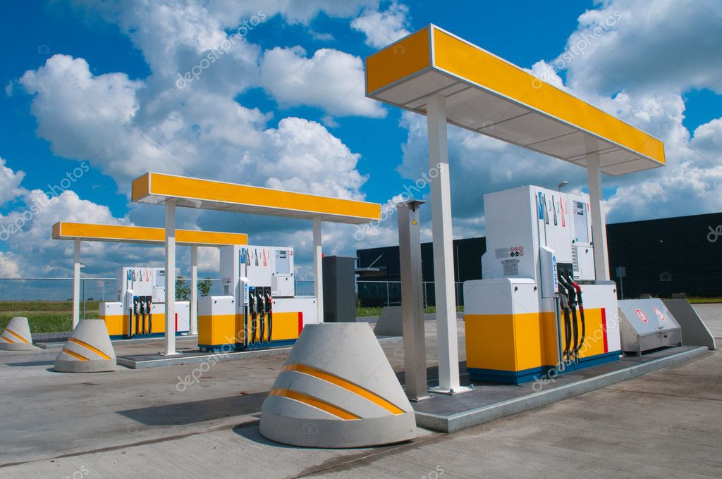 Picture of a modern gas station for fueling gasoline  Stock Photo #5806264