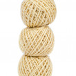 Three twine balls isolated on a white background — Stock Photo