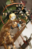 Picture of pipes and valves in a model steam train — Stock Photo