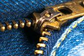 Blue jeans zipper — Stock Photo