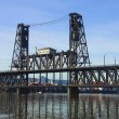 Stock Photo: Steel bridge Portland OR.
