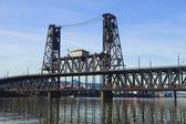 The steel bridge Portland OR. — Stock Photo