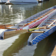 Stock Photo: Dragon boats & paddles.