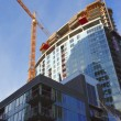 Construction site, new complexes skyscrapers, Portland Oregon. - Stock Photo