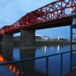 Stock Photo: Broadway bridge at dusk.