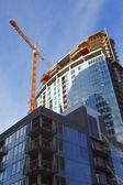 Construction site, new complexes skyscrapers, Portland Oregon. — Stock Photo