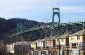 The St. John bridge & row of new houses. — Stock Photo