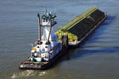 A barge & push boat. — Stock Photo